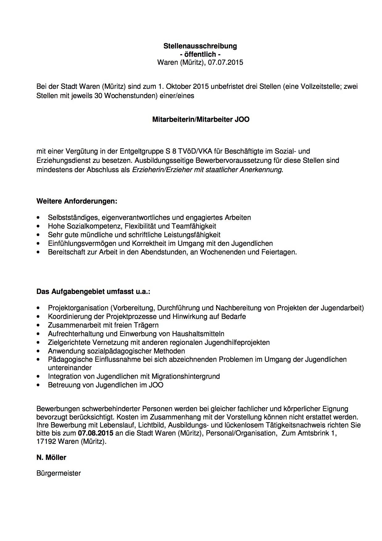 2015-07-31 Stellenausschreibung