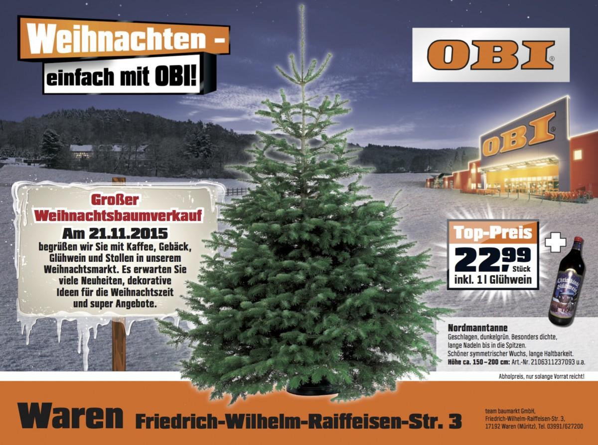 Jetzt schon die nordmanntanne sichern wir sind m ritzer - Obi weihnachtsbaumverkauf ...