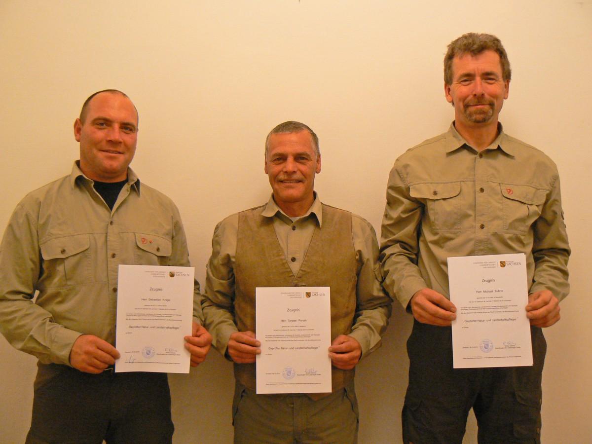 PM31_Sebastian Krage, Torsten Porath & Michael Burtz_Prüfung zum Zertifizierten Natur- und Landschaftspfleger bestanden_2015
