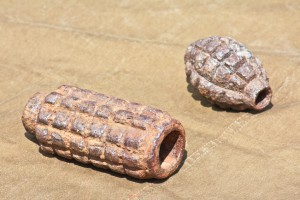 Old defused high-explosive shells